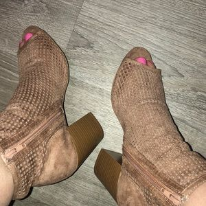Tan open toe booties